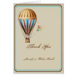El boda del globo del aire caliente del vintage le felicitacion