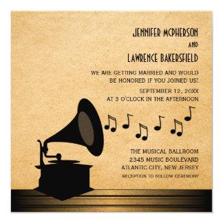 El boda del gramófono del vintage del ébano invita invitación 13,3 cm x 13,3cm