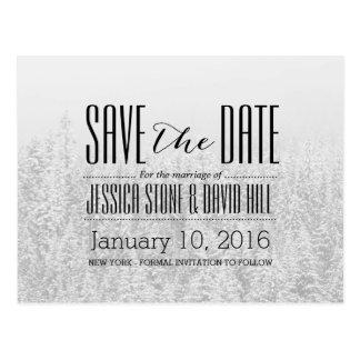 El boda del invierno del bosque que nieva ahorra tarjetas postales