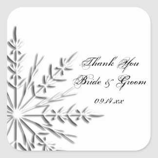 El boda del invierno del copo de nieve le agradece pegatina cuadrada