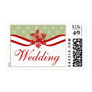 El boda del invierno sella el copo de nieve rojo estampillas