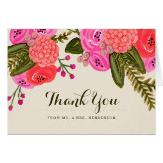 El boda del jardín del vintage le agradece tarjeta de felicitación