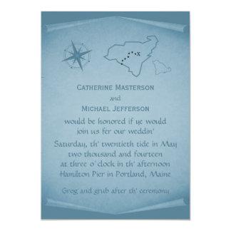 El boda del mapa del tesoro invita, azul anuncio personalizado