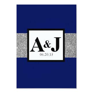 """El boda del monograma del brillo de la plata del invitación 5"""" x 7"""""""