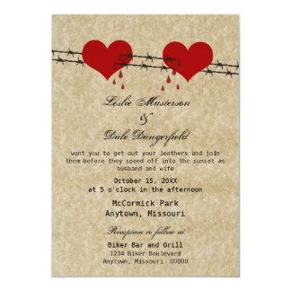 """El boda del motorista del tatuaje de los corazones invitación 5"""" x 7"""""""