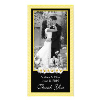 El boda del negro del amarillo de la margarita de tarjetas personales con fotos