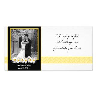 El boda del oro del negro de la margarita de tarjetas fotográficas