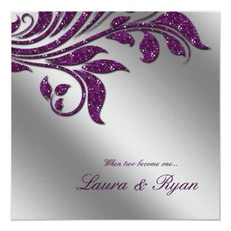 """El boda del otoño invita a la plata de la púrpura invitación 5.25"""" x 5.25"""""""