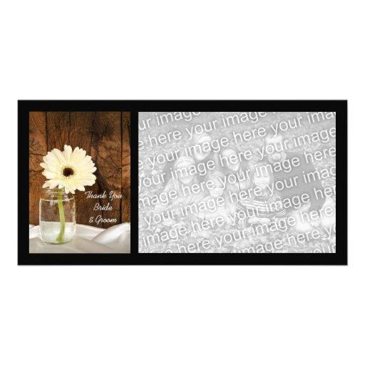 El boda del país de la margarita blanca del tarro  tarjetas con fotos personalizadas