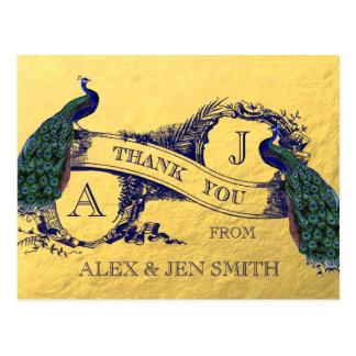 El boda del pavo real de la hoja de oro le agradec postales