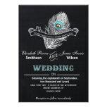 El boda del pavo real de la pizarra del vintage in comunicado personalizado