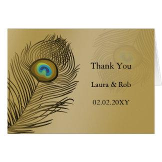 el boda del pavo real del oro le agradece tarjeta de felicitación