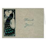 El boda del pavo real del vintage le agradece tarjeta de felicitación