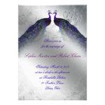 El boda del pavo real invita a la plata del vintag invitación