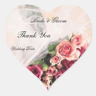 El boda del ramo de los rosas le agradece pegatina