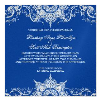 """El boda del remolino del damasco de Toile invita Invitación 5.25"""" X 5.25"""""""