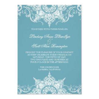 """El boda del remolino del damasco de Toile invita Invitación 5"""" X 7"""""""