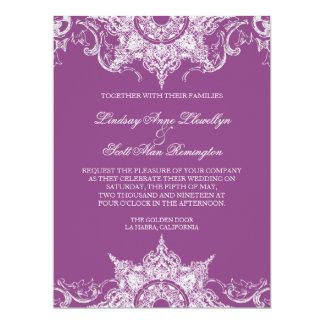"""El boda del remolino del damasco de Toile invita Invitación 6.5"""" X 8.75"""""""