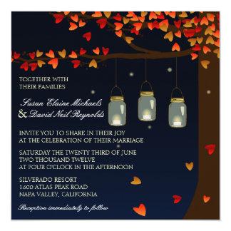 """El boda del roble de las luciérnagas del tarro de invitación 5.25"""" x 5.25"""""""