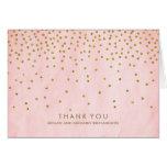 El boda del rosa del confeti del oro del vintage tarjeta pequeña