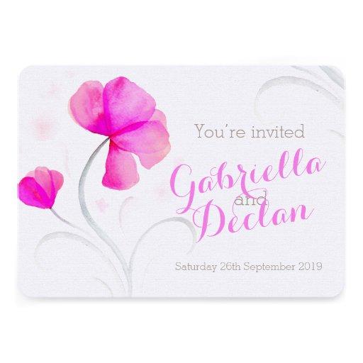 El boda del rosa del wildflower de la acuarela inv anuncio