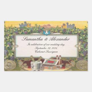 El boda del viñedo personalizó etiquetas de la rectangular pegatinas