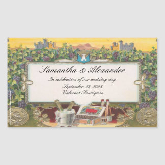 El boda del viñedo personalizó etiquetas de la pegatina rectangular