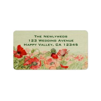 El boda del vintage, amapola roja florece el prado etiquetas de dirección