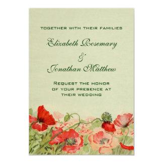 El boda del vintage, amapola roja florece el prado invitación 12,7 x 17,8 cm