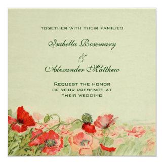 El boda del vintage, amapola roja florece el prado comunicados