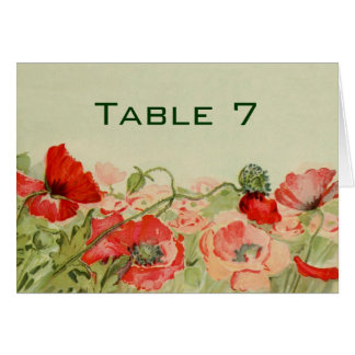 El boda del vintage, amapola roja florece el prado felicitacion
