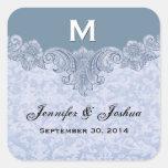 El boda del vintage de los azules claros nombra la calcomania cuadrada personalizada
