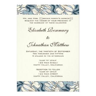 El boda del vintage iris de Nouveau del arte flor Invitaciones Personales