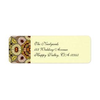 El boda del vintage, jardín florece mariposas etiquetas de remite