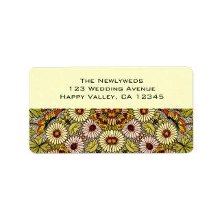 El boda del vintage, jardín florece mariposas flor etiqueta de dirección