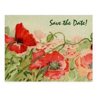 El boda del vintage, las flores rojas de las postal