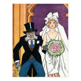 El boda del vintage, novio de la novia, puede postales