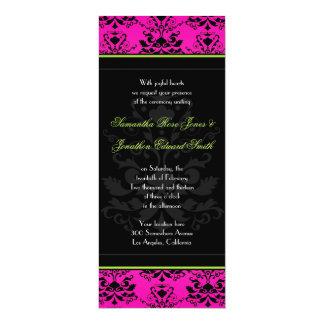 El boda delgado verde del damasco rosado y negro invitación 10,1 x 23,5 cm