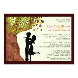 """El boda descendente del roble de los corazones de invitación 4.5"""" x 6.25"""""""