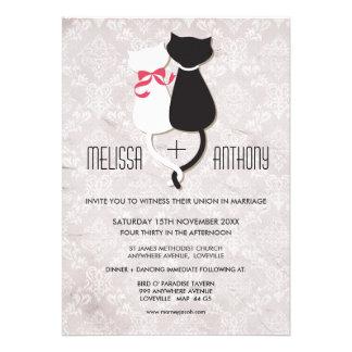 El boda divertido del damasco de los pares del gat invitaciones personales