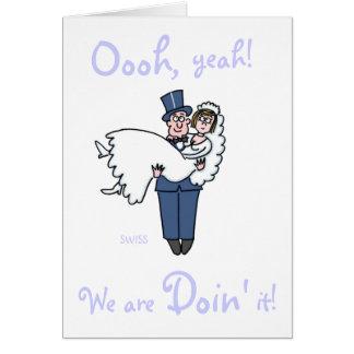 El boda divertido irreverente de novia y del novio tarjeta pequeña