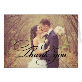 El boda doblado le agradece carda la escritura del tarjeta pequeña