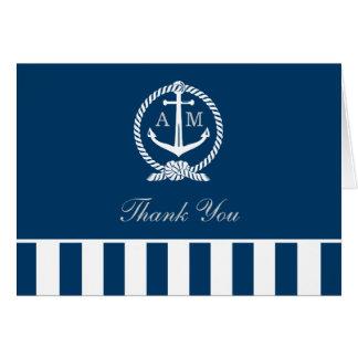 El boda doblado le agradece observa rayas náuticas tarjeta pequeña