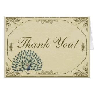 El boda doblado pavo real del vintage le agradece  tarjeta pequeña