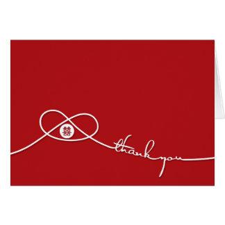 El boda doble rojo del nudo de la felicidad le tarjeta pequeña