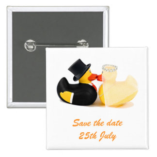 El boda ducks… la insignia 2 pin cuadrado