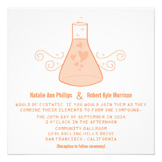 El boda dulce anaranjado de la química invita anuncio