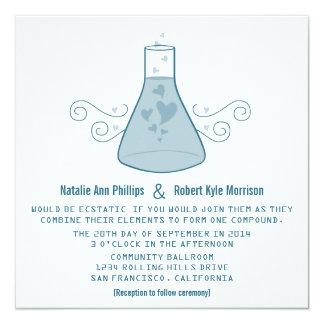 """El boda dulce azul de la química invita invitación 5.25"""" x 5.25"""""""