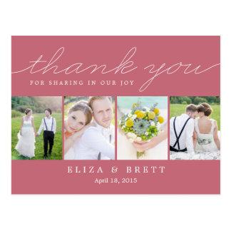 El boda dulce del collage le agradece cardar - postal