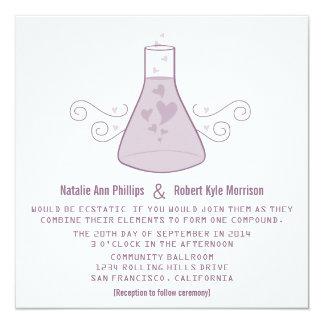 """El boda dulce púrpura de la química invita invitación 5.25"""" x 5.25"""""""